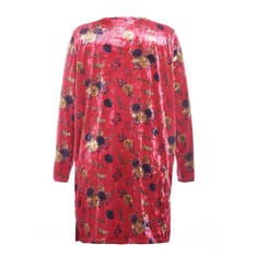 V Neck Velour Ladies Casual Cardigans With Red Flower Print Medium Length